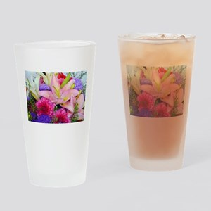 Pink dahlia and lily floral bouquet Drinking Glass