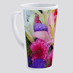 Pink dahlia and lily floral bouque 17 oz Latte Mug
