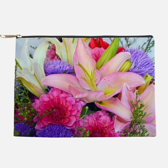 Pink dahlia and lily floral bouquet Makeup Bag