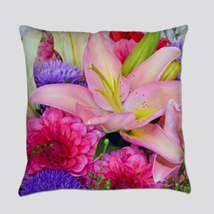 Pink dahlia and lily floral bouque Everyday Pillow