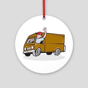 Delivery Man Waving Driving Van Cartoon Round Orna