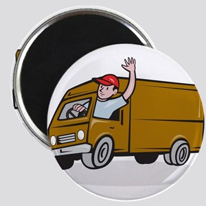 Delivery Man Waving Driving Van Cartoon Magnets