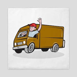 Delivery Man Waving Driving Van Cartoon Queen Duve