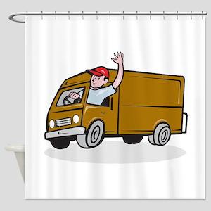 Delivery Man Waving Driving Van Cartoon Shower Cur