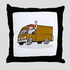 Delivery Man Waving Driving Van Cartoon Throw Pill