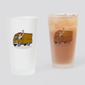 Delivery Man Waving Driving Van Cartoon Drinking G