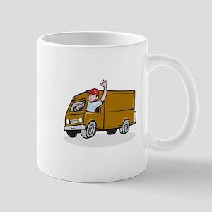 Delivery Man Waving Driving Van Cartoon Mugs
