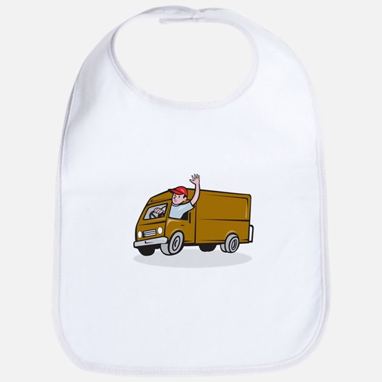 Delivery Man Waving Driving Van Cartoon Bib