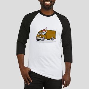 Delivery Man Waving Driving Van Cartoon Baseball J
