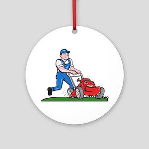 Gardener Mowing Lawn Mower Cartoon Round Ornament
