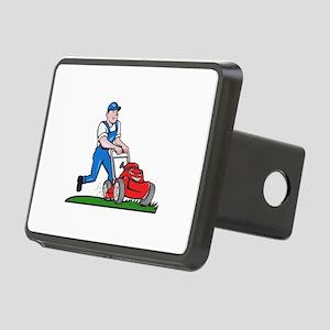 Gardener Mowing Lawn Mower Cartoon Hitch Cover
