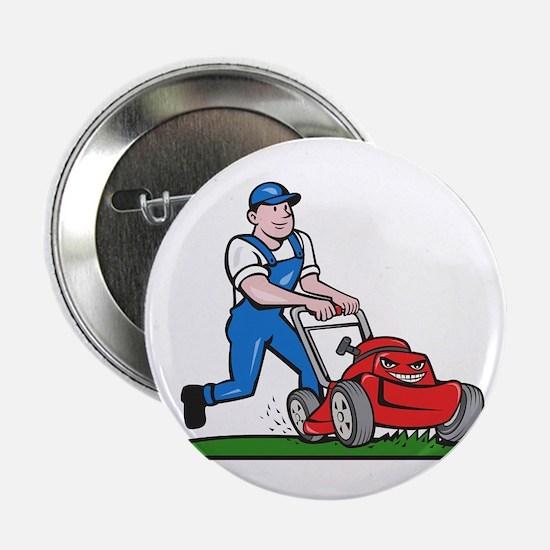 "Gardener Mowing Lawn Mower Cartoon 2.25"" Button (1"