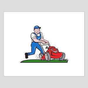 Gardener Mowing Lawn Mower Cartoon Posters