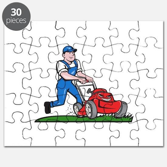 Gardener Mowing Lawn Mower Cartoon Puzzle