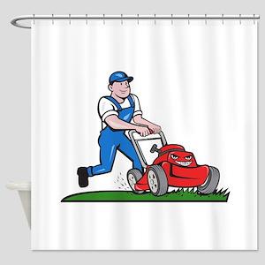 Gardener Mowing Lawn Mower Cartoon Shower Curtain