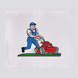Gardener Mowing Lawn Mower Cartoon Throw Blanket