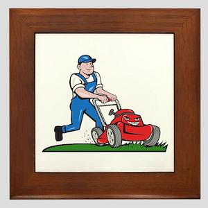Gardener Mowing Lawn Mower Cartoon Framed Tile