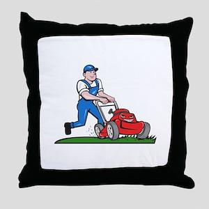 Gardener Mowing Lawn Mower Cartoon Throw Pillow