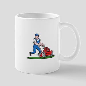 Gardener Mowing Lawn Mower Cartoon Mugs