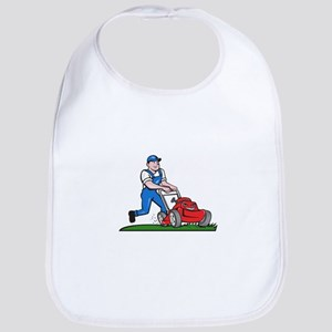 Gardener Mowing Lawn Mower Cartoon Bib