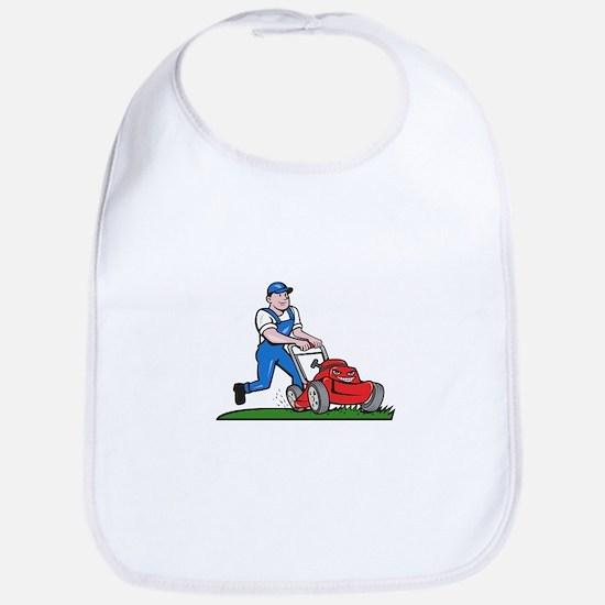 Gardener Mowing Lawn Mower Cartoon Bib
