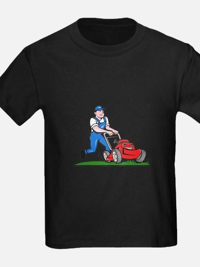 Gardener Mowing Lawn Mower Cartoon T-Shirt