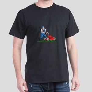 Gardener Mowing Lawn Mower Cartoon T-Shirt