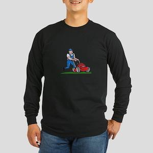 Gardener Mowing Lawn Mower Cartoon Long Sleeve T-S