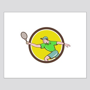 Tennis Player Racquet Forehand Circle Cartoon Post