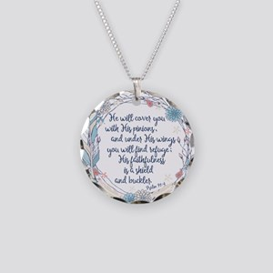 Under His Wings Necklace Circle Charm