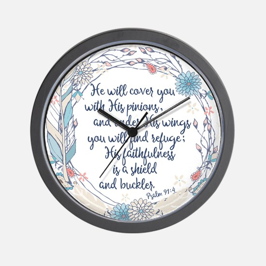 Under His Wings Wall Clock