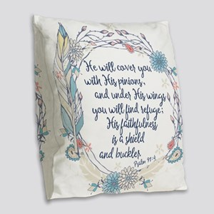 Under His Wings Burlap Throw Pillow