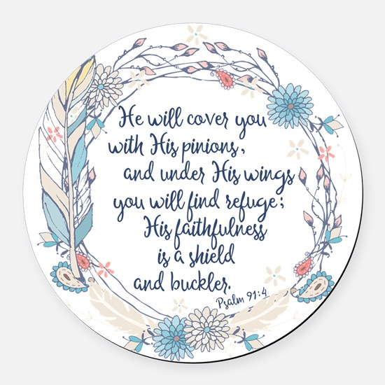 Under His Wings Round Car Magnet