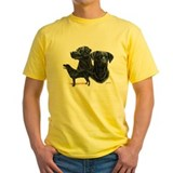 Black labrador Mens Classic Yellow T-Shirts