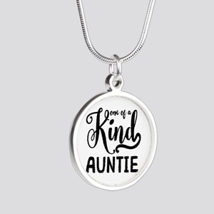 One of a kind Auntie Silver Round Necklace