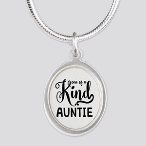 One of a kind Auntie Silver Oval Necklace