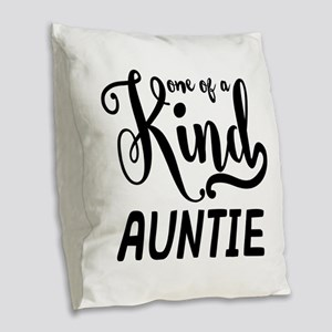 One of a kind Auntie Burlap Throw Pillow