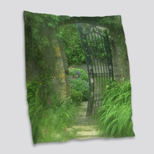 Garden Gate Burlap Throw Pillow