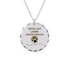 Crazy Cat Ladies Anonymous Necklace Circle Charm
