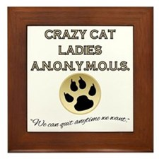 Crazy Cat Ladies Anonymous Framed Tile