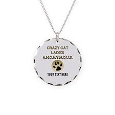 Custom Crazy Cat Ladies Necklace Circle Charm