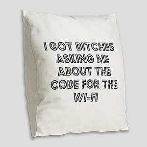Wifi Burlap Throw Pillow
