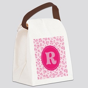 Pink Camo Monogram Initial R Canvas Lunch Bag