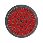 Red Pattern 003 Wall Clock