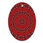 Red Pattern 003 Oval Ornament