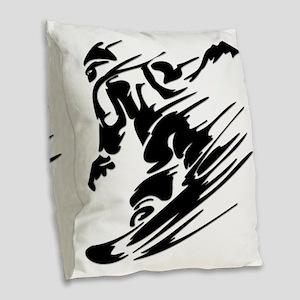 SNOWBOARDING! Burlap Throw Pillow