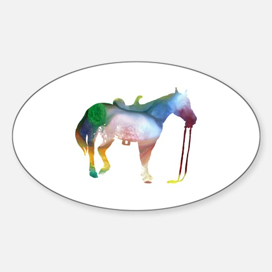 Funny Horse themed Sticker (Oval)