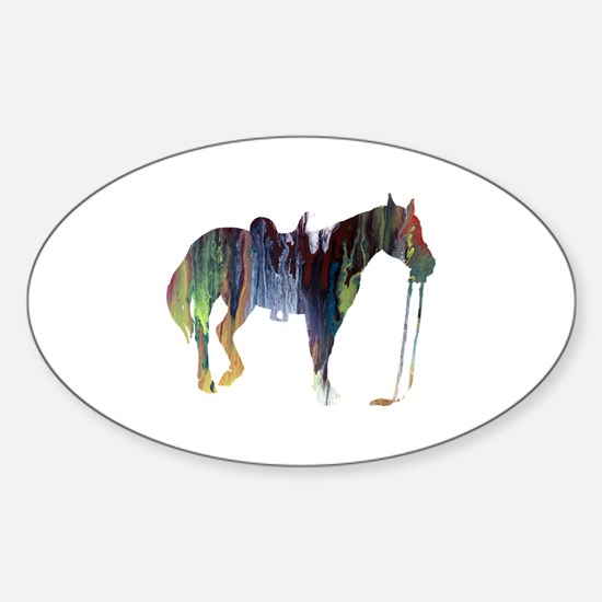 Cute Horse themed Sticker (Oval)