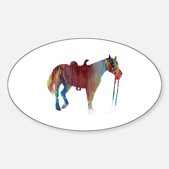 Unique Horse themed Sticker (Oval)
