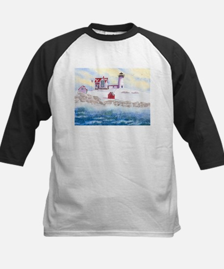 Nubble Lighthouse in Winter Baseball Jersey